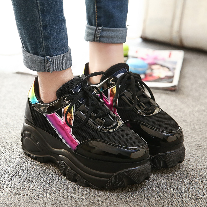 Size 35-39 Harajuku Women Casual Shoes 2015 Retro Trifle Platform Big Head Shoes Students Laser Casual Shoes Super 6cm Heights(China (Mainland))