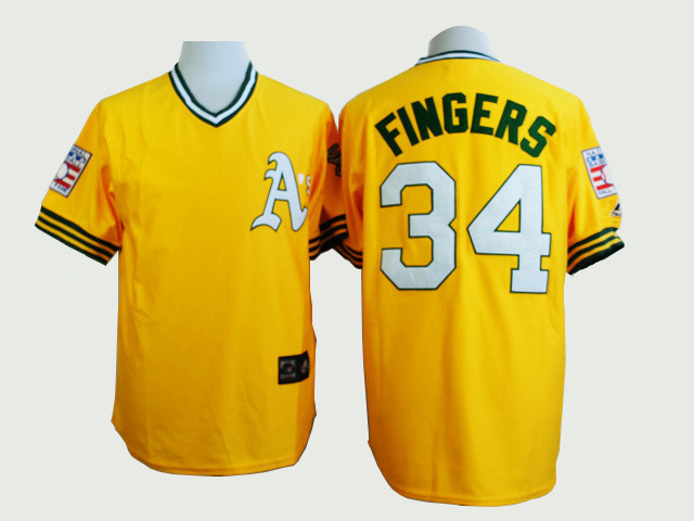 2015 New Arrival Throwback Mens Oakland Athletics Jersey #34 Rollie Fingers Yellow Baseball Jersey Embroidery And Sewing Logos(China (Mainland))