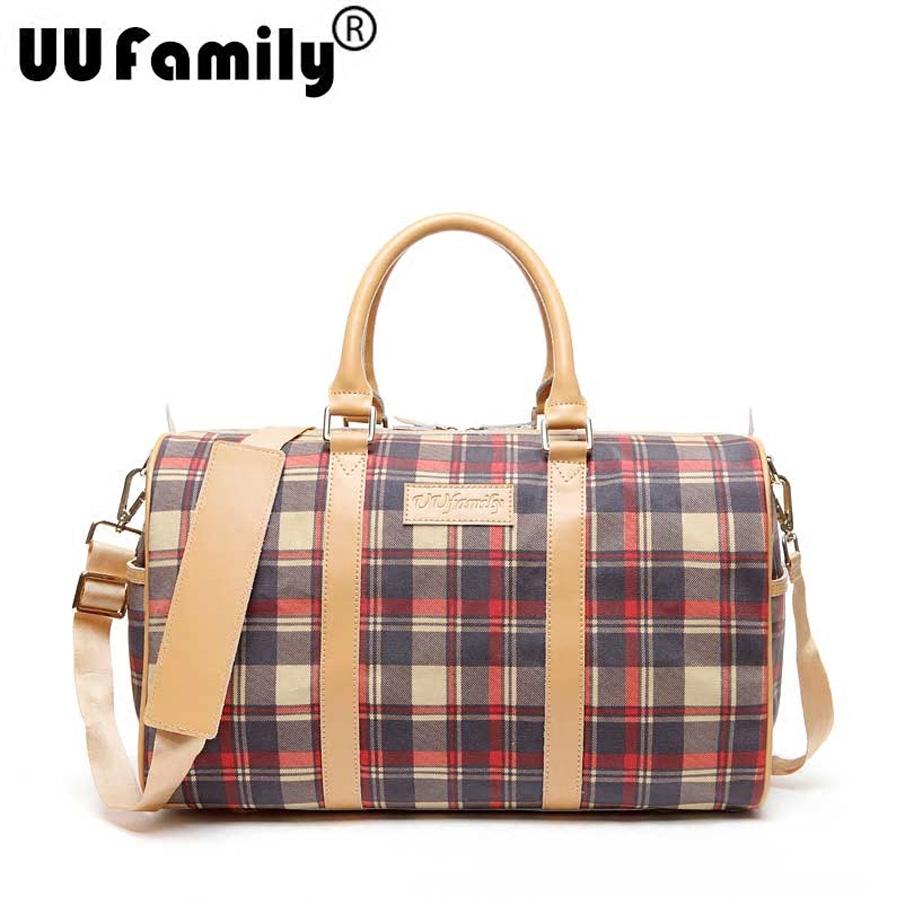 UUfamily youyoujialvxingbaoguan Large capacity vintage plaid women travel bag canvas cowhide patchwork portable travel bag<br><br>Aliexpress