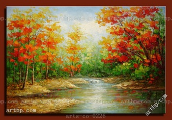 Contemporary Palette Knife Landscape Art Oil Painting On Canvas Grove Film For Wall Wall Frame Decorative Abstract Canvas Art