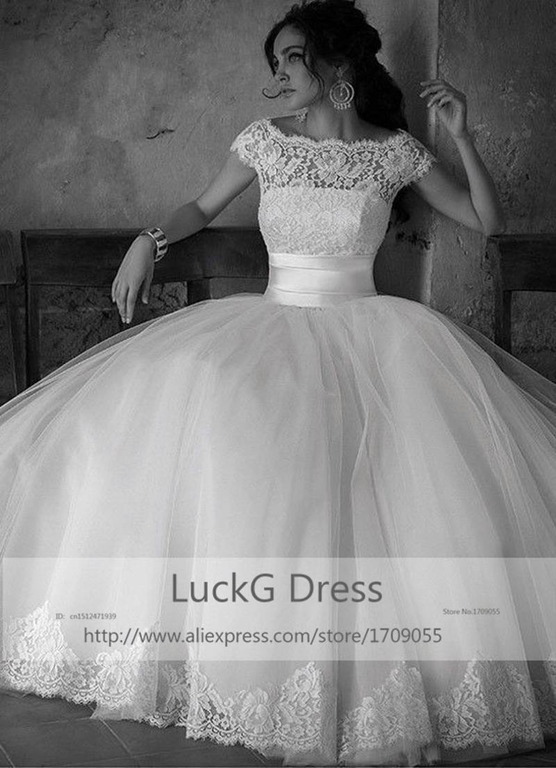 Hot Short A-line Floor- Length Court Train Lace wedding Dresses bridal gown Cap Sleeve Formal Gowns Tulle - LuckG Dress store