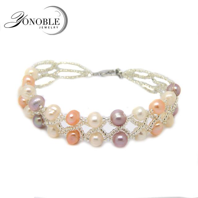 Yonoble настоящая жемчужина браслет женщин, Двойной жемчужный браслет белый пресной ...