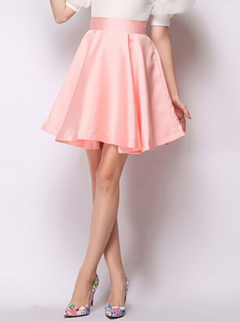 2015 new arrival summer light pink high waist skater skirt