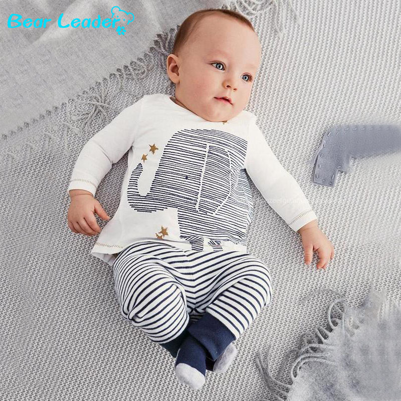 Bear Leader clothing set autumn baby boy clothes carters baby clothing baby elephant Long sleeve Tops + Stripe Pants clothes set