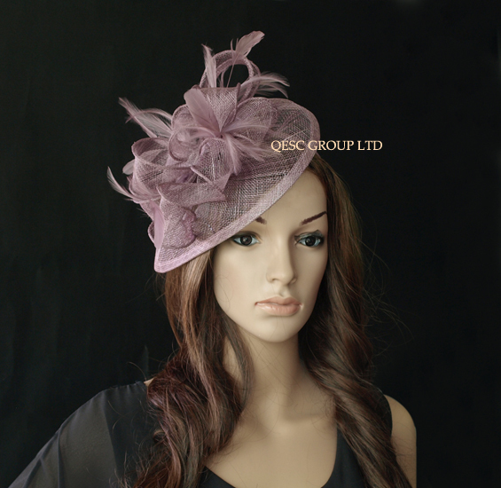 purple Sinamay Fascinator/party hat in SPECIAL shape with feather for weeding races party Melbourne Cup.(China (Mainland))
