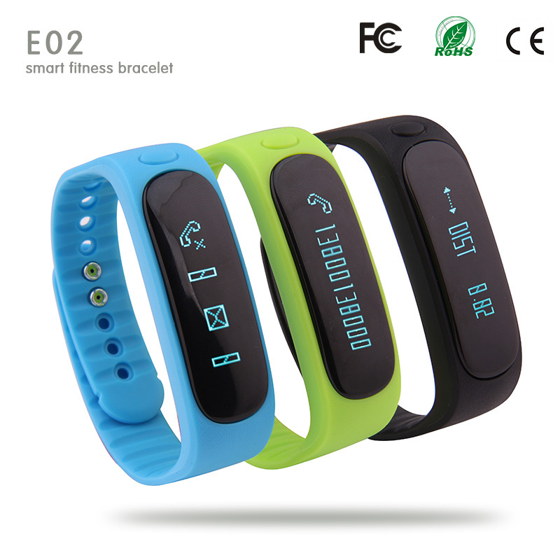 2015 Digital Watch E02 Smart Wristband for Iphone Android Phone Smart Bracelet Pedometer Sleep Tracker Call Reminder Smartband