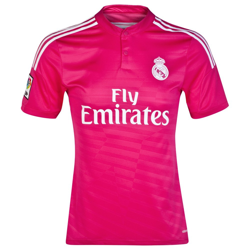 14-15 Real Madrid away short-sleeved jersey number 7 C Lo on the 8th J Robert Crosby pink soccer clothes free shipping(China (Mainland))