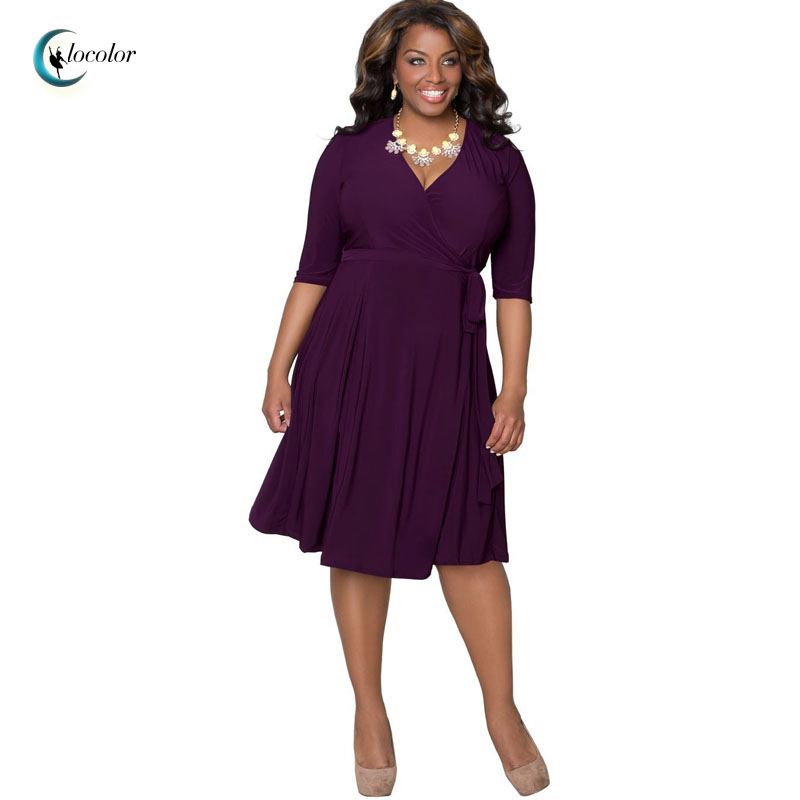 Clocolor 2016 Plus Size Dresses Brief Style summer Fashion Large Size Pure Color summer spring fall plus size Dress for Women(China (Mainland))