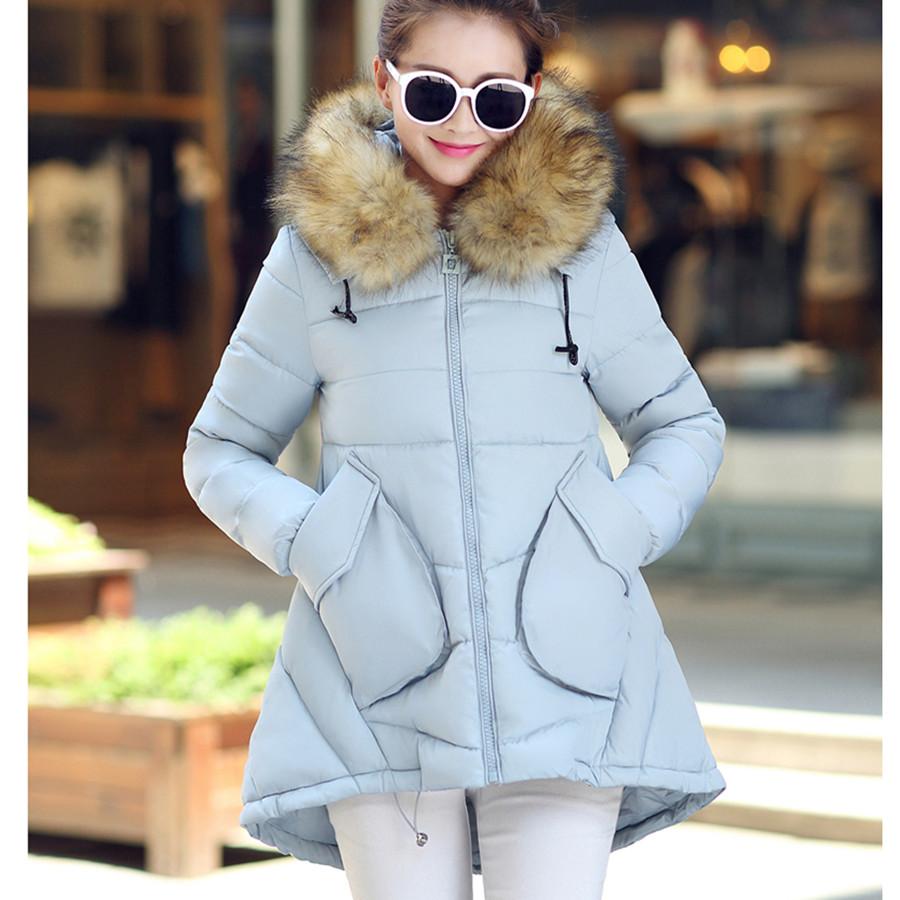 Desigual Fur Collar Hooded Parka New 2015 Winter Jacket Women Solid Long Jackets Coats Coat Manteau Femme