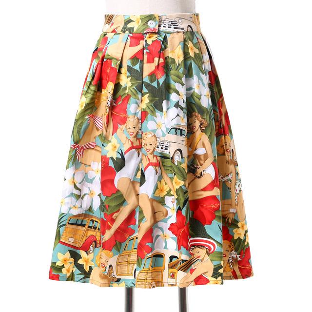 Vintage Среднийi юбка 2016 Грейс Карин Плюс размер 3xl 2xl цветочные печатные круг ...