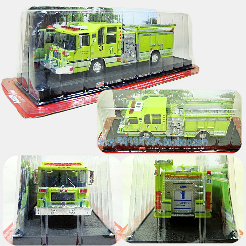 Brand New 1:64 Scale Alloy Diecast Fire Truck 1997 Pierce Quantum Pumper USA Cars Truck Model For Kids Collection Gifts Toys(China (Mainland))
