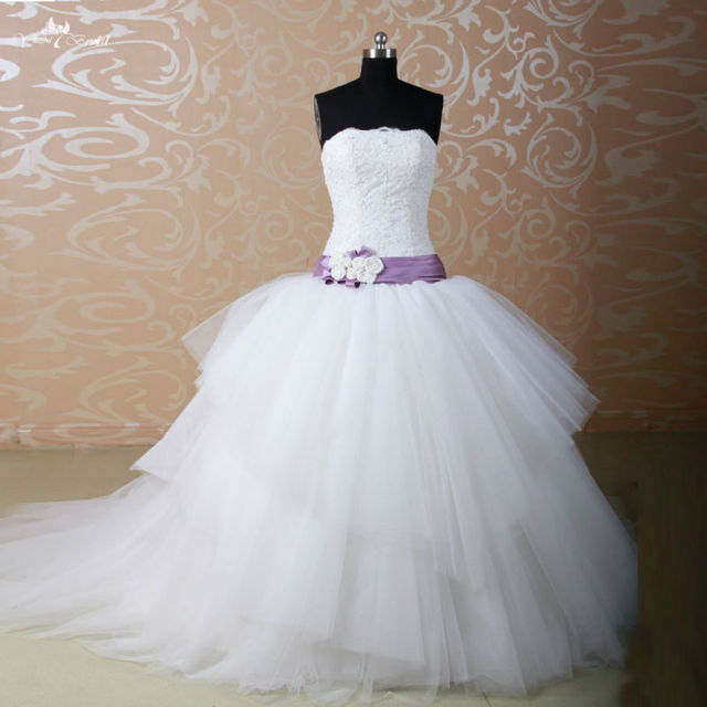 Rsw777 tulle puffy skirt purple and ivory wedding dresses for Purple and ivory wedding dress