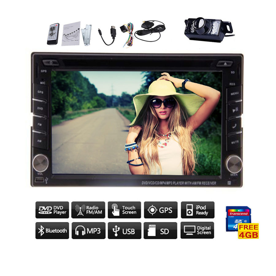 Rear Camera 6.2inch GPS Navigation Double 2 DIN Car radio stereo headunit Auto Universal PC Car DVD Player GPS bluetooth iPod(China (Mainland))