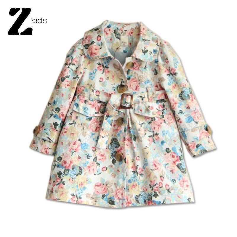 2015 Spring Autumn Floral Jacket Baby Girl Coat Children Outerwear Vintage Retro Kids Clothes With Belt Casaco Infantil 2 Colors<br><br>Aliexpress