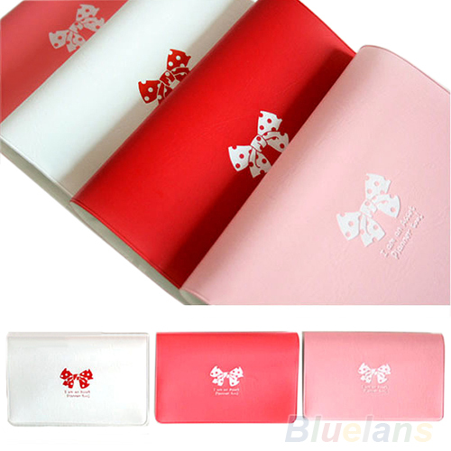 Women s Bowknot Business ID Credit Cute Card Pocket Bag Wallet Holder Case 02QJ 2UC6