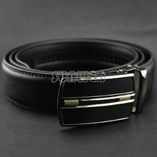 HOT Fashion MEN's Leather Waist Strap Belts Automatic Metal Buckle Silver Split Cow Leather Luxury Man's belt 51(China (Mainland))