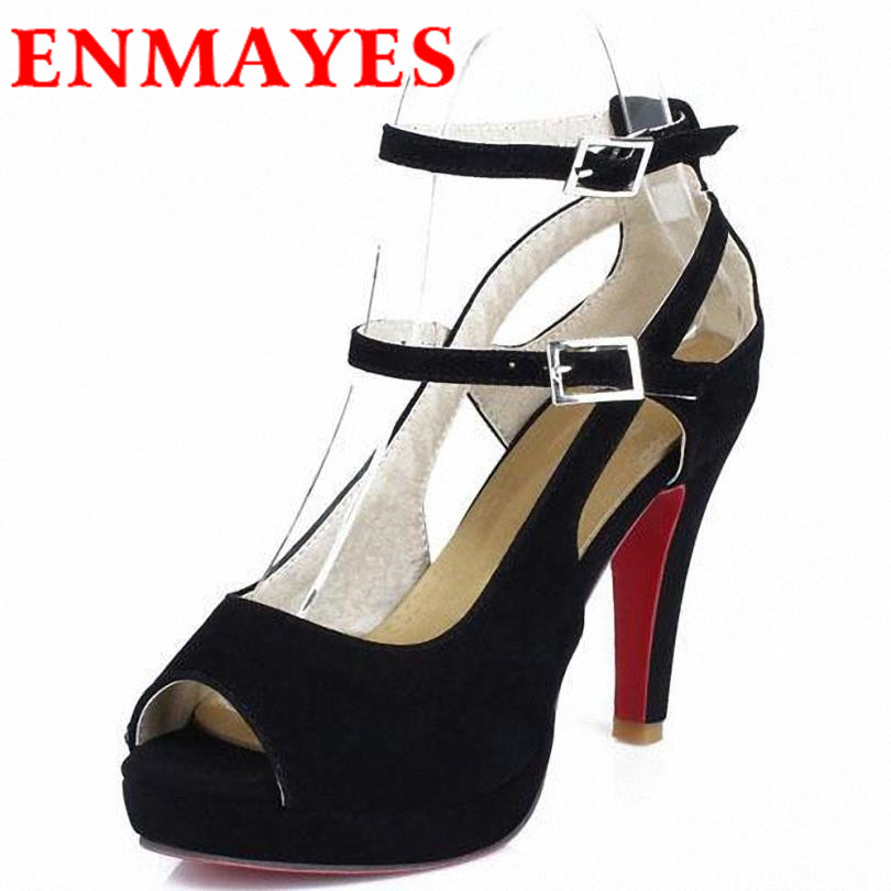 ENMAYER Platform pumps bigsize34-43new2015 summer high quality fashion Peep Toe womens Summer  shoes  high heels  pumps woman<br><br>Aliexpress