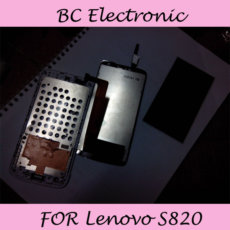 100% Warranty Full LCD Display +touch Screen Digitizer +White frame FOR Lenovo S820 Free Shipping