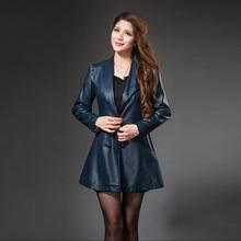 2015 New Female Korean Winter Leather Coat Girls Long Slim Leather Buttons Leather Jacket Women Jaqueta De Couro Feminina(China (Mainland))