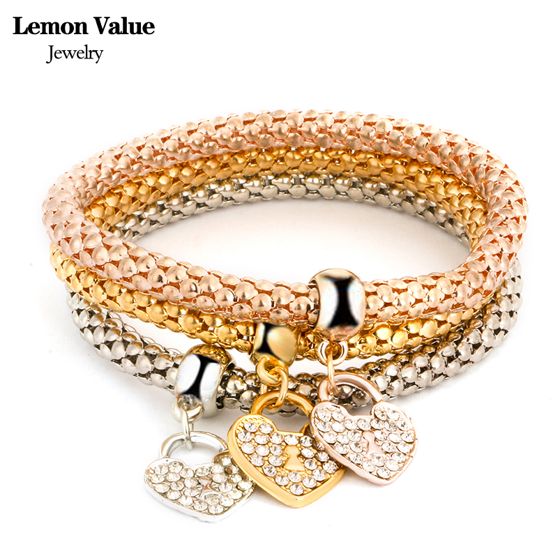 11 Styles New Punk Multilayer Heart Anchor Bangles Vintage Charms Elastic Force Crystal Gold Bracelet Women Fine Jewelry H007(China (Mainland))