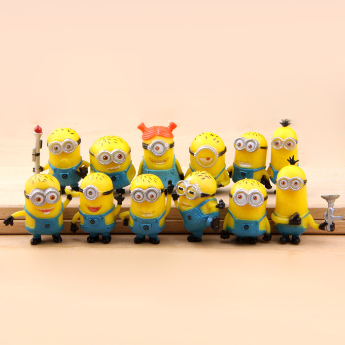 Best Quality 12PCS/SEt kids Toys MINIONS TOYS doll lps anime toy Environmental Protection Harmless Home decoration MagicToy 0037(China (Mainland))