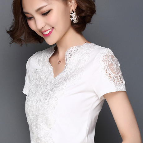 2016 Fashion Summer Style Blusa White Lace Cotton Blouse Elegant Women Tops Plus Size Sexy Hollow Out Shirts Woman Clothes 668F(China (Mainland))