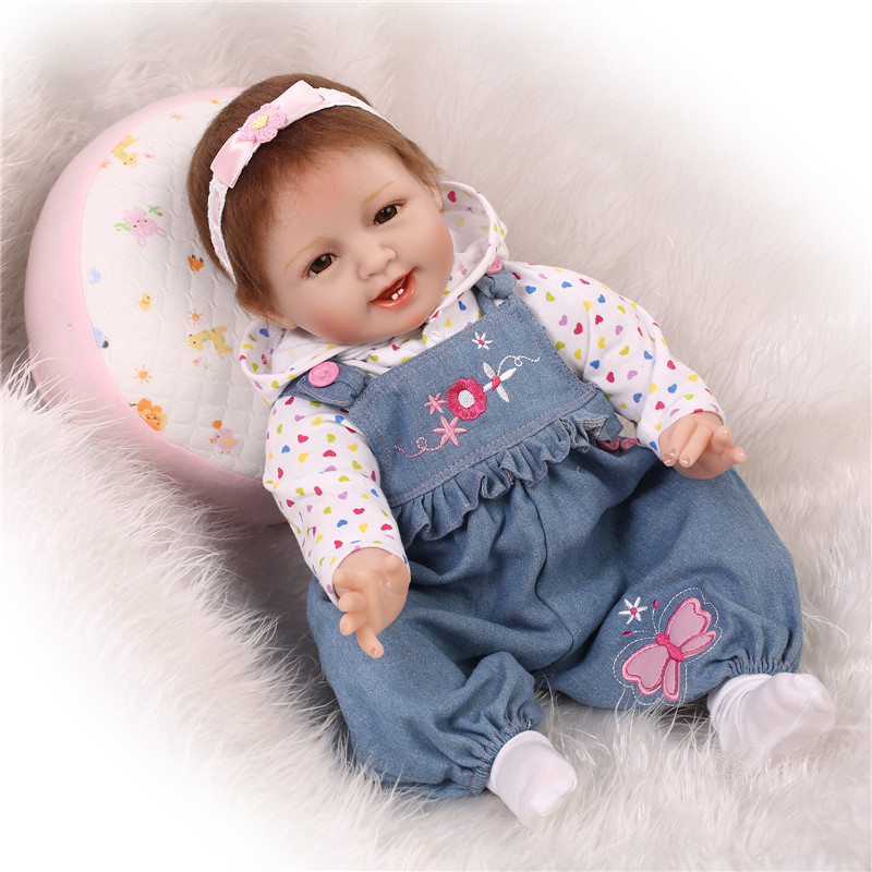 55cm 22inch Simulation Lifelike Silicone Vinyl And Cotton Reborn Baby Doll The Most High End Girl Brinquedes As Christmas Gift(China (Mainland))
