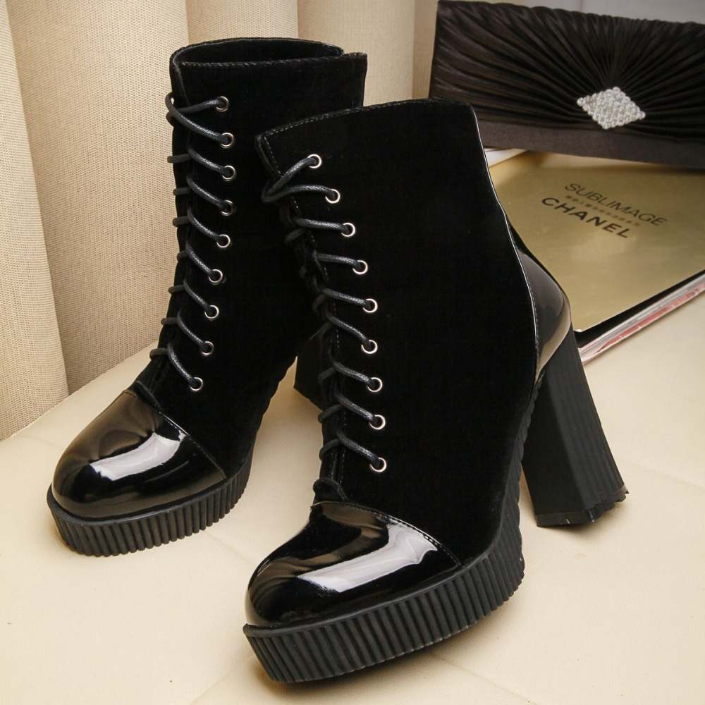 New Women High Boots Sexy Round Toe Ankle boots Winter Shoes Lace-up  Platform Martin boots Black