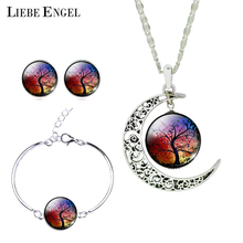 LIEBE ENGEL Newest Silver Color Jewelry Moon Pendant Necklace Stud Earrings Charm Bracelet Set Jewelry Sets Christmas Gift(China (Mainland))