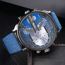 Military Watch Men Watches with Double Movt Numbers and Strips Hours Marks Leather Band Quartz Men Sports Watches Relogio
