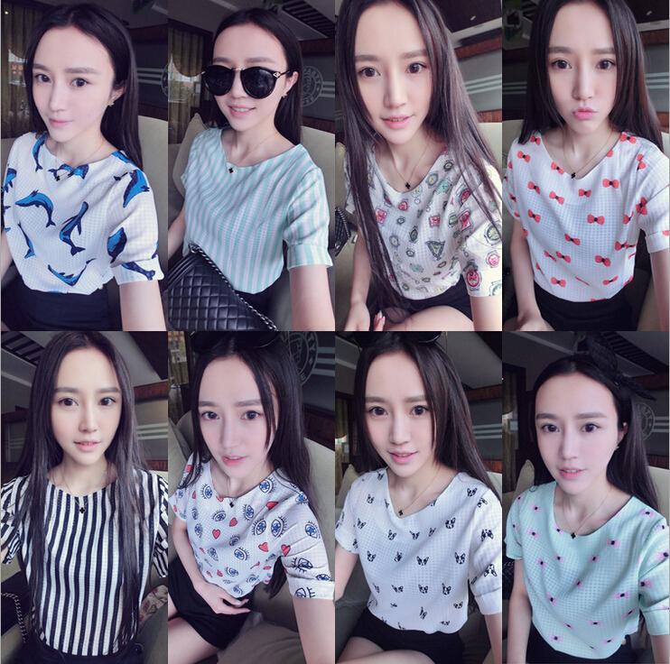 New Fashion Novelty Print Blouse Women Short Sleeve Chiffon Tops Fashion Casual Chiffon Shirt Pullover Blusa 15 Colors Wholesale(China (Mainland))