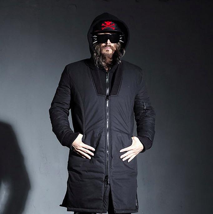 British Fashion Gothic Harajuku Men Polo Coats For Men Wadded Baseball Jacket Mens Winter Coats 2016 Long Snow Coat Parka Black(China (Mainland))