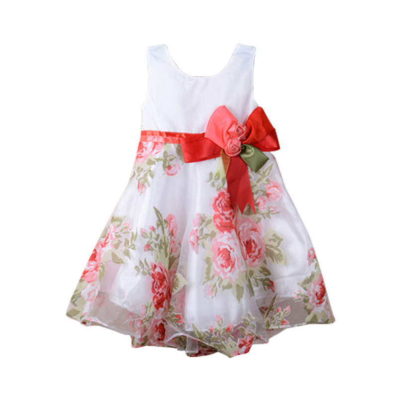 Retail cotton 2015 summer little girl dress sleeveless floral children clothing flower Casual girls dresses - Bear Family store