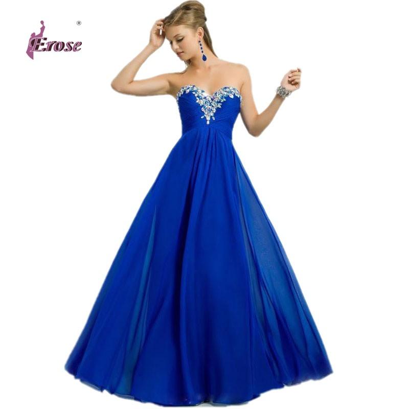 Beaded/ Sequined Sweetheart Floor-Length Chiffon Formal Evening Dress Gown vestido de festa - 100% Satisfaction-Suzhou Erose Wedding store