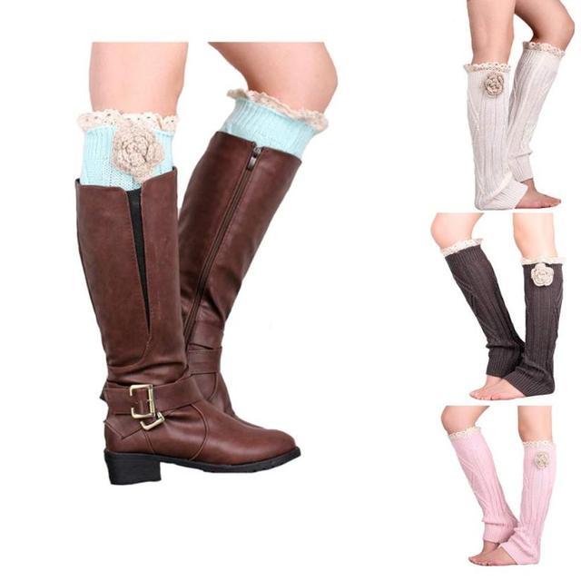 Удивительные женщины стрейч загрузки ног манжеты загрузки леди зима вязания крючком ...