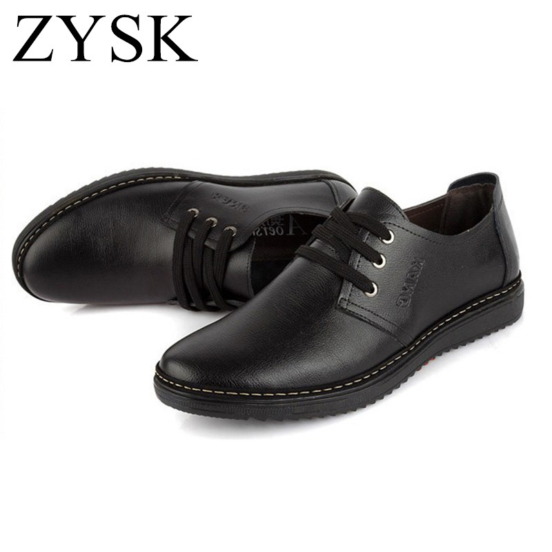 ZYSK 2016 New Fashion Men Shoes Leather Shoes Men's Flats Low men Oxford High Quality Lace Up Office Career Wedding Shoes(China (Mainland))