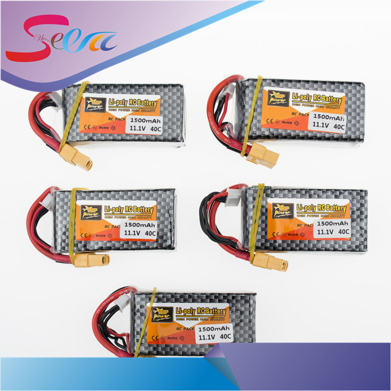 Zop 11.1V 3S 1500mah lipo battery 40C T XT60 plug 5pcs RC Car Airplane trucks buggy boats Helicopter parts