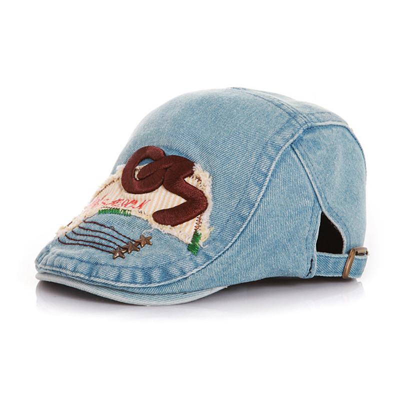 Kids Letter Denim Hats Spring Summer Cotton Cap Baby Hat Girl Boy Berets Children Casual Toddler Adjustable Unisex Beret Caps(China (Mainland))