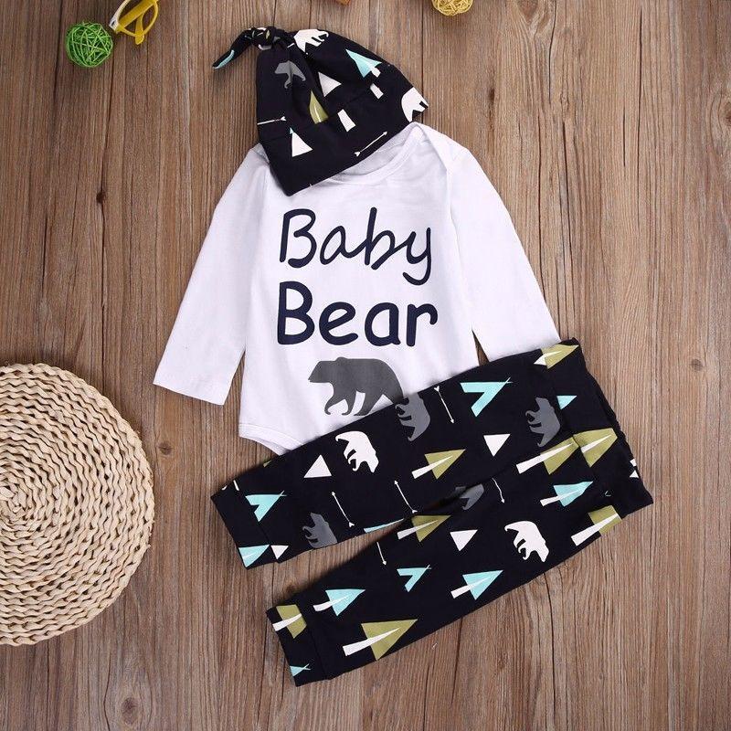 Autumn Winter Newborn Baby Boys Girls Baby Bear Bodysuit + Black Pants Leggings + Hat Outfits Sets Christmas Clothes 0-18M 21