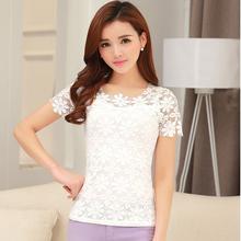 camisas femininas 2015 summer tops tees ladies t shirt women t-shirt female Lace Short sleeve tshirt woman clothes plus size 5XL(China (Mainland))