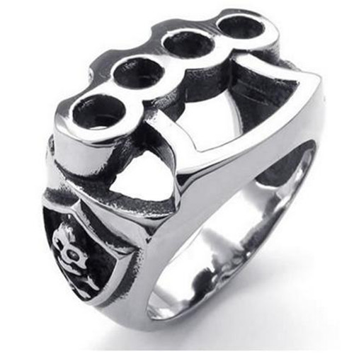 Mens Stainless Steel Ring, Skull Boxing Glove, Black Silver,mens stainless steel jewelry(China (Mainland))