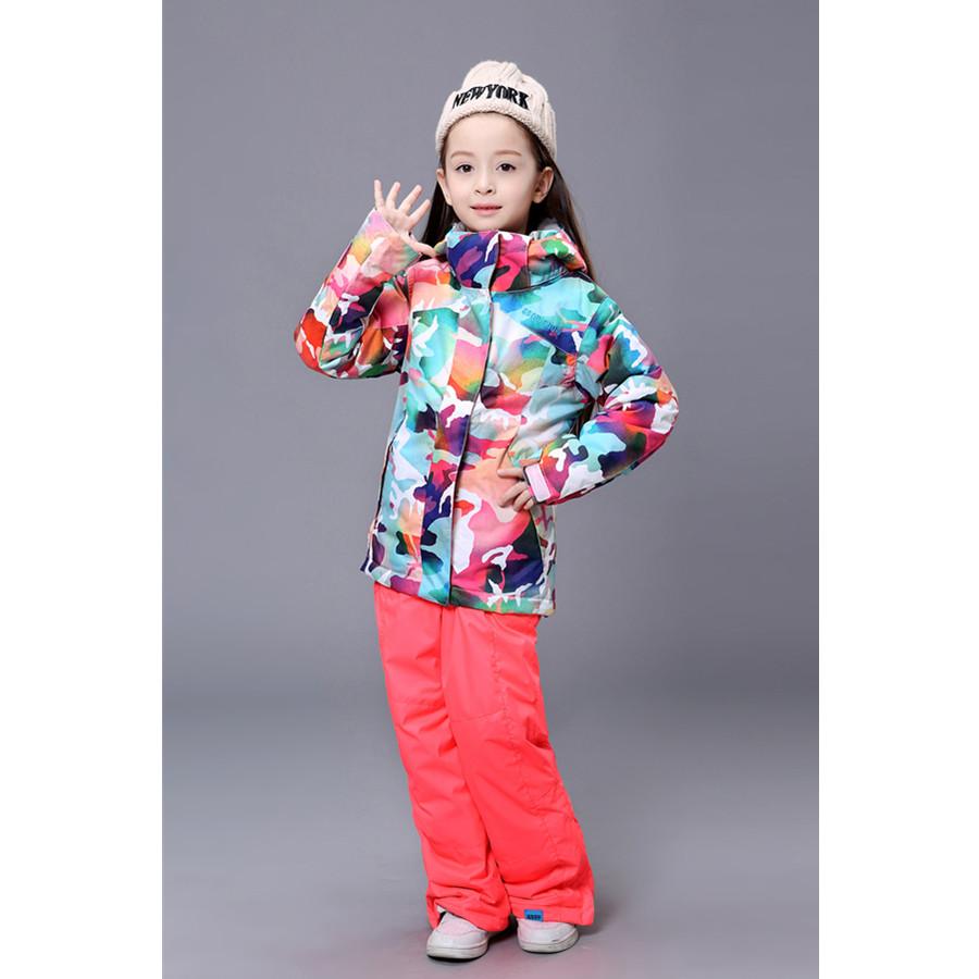 2015 girls ski suit set kids multicolour Camouflage ski jacket and red ski pants female child ...