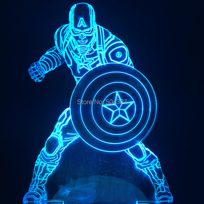 Free Shipping 4Pieces Marvel Civil War Superhero Captain America Figure Light Handmade 3D Illusion Lamp LED Mood Light<br><br>Aliexpress