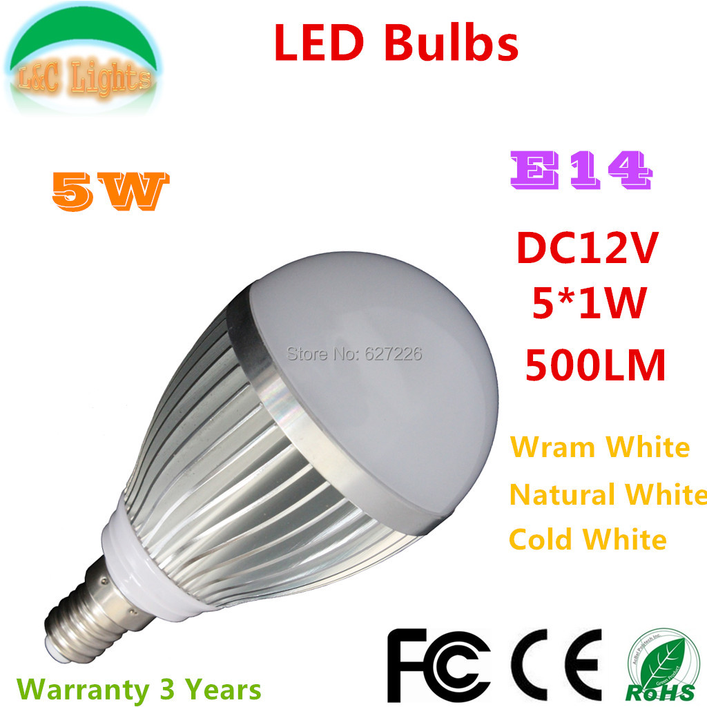 E14 5W 500LM LED Bulbs,DC12V LED Home Lighing,CE RoHS Life 35000H Warranty 3 Years,Warm White/Natural White/Cold W,10PCs a lot(China (Mainland))