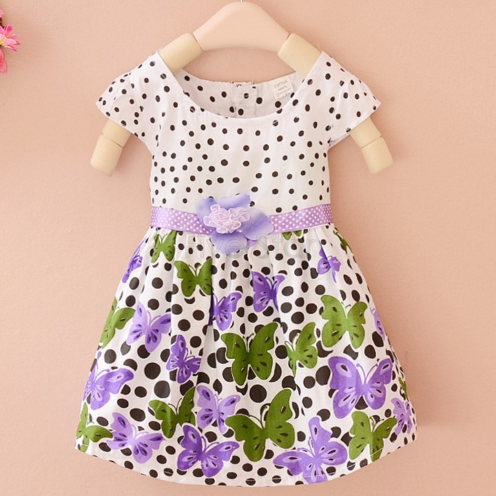 2015 baby tutu dress children's Princess Dress summer new girls on the idea of two flower Dot Butterfly girls dresses 24(China (Mainland))