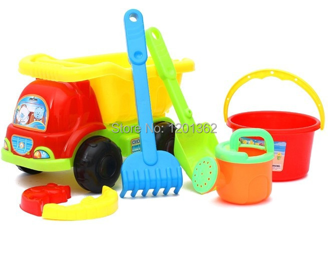 Summer Plastic Watering Can Shovel Rake Mould Bucket Dump Truck Baby Children Sand Beach Tool Toy Outdoor Play Game 7PCS/Set(China (Mainland))