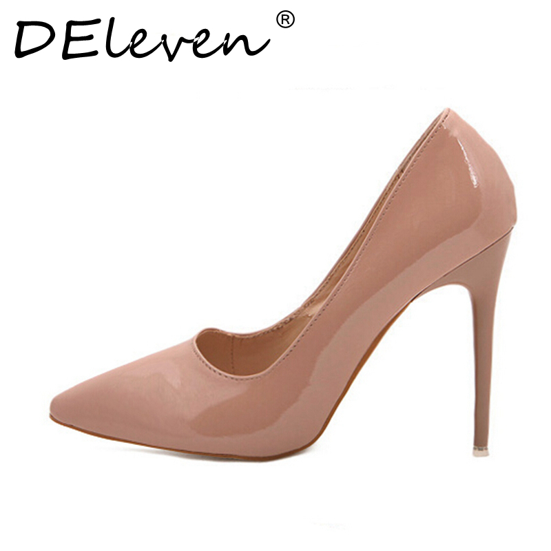 DEleven Ladies Wedding Shoes Women Sexy Stiletto Pointed Toe High Heels Pumps Shoes Red Black White Apricot Wine Color US8.5  40