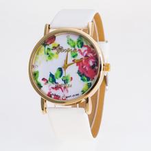 Pulseira de couro New Arrival Floral assista mulheres marca de moda de luxo de alta qualidade de genebra de quartzo de pulso cor White Hot Selling