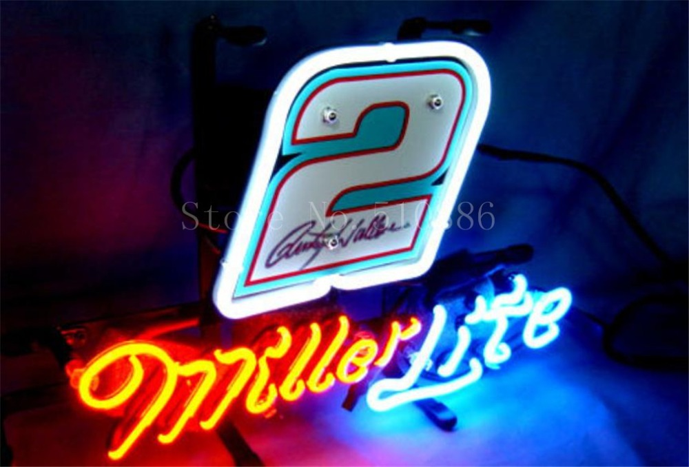 """NEW NEON SIGN For Miller Lite Nascar #2 Ford Fusion Car Real GLASS Tube BEER BAR PUB store display Shop Light Signs 17*14""""(China (Mainland))"""