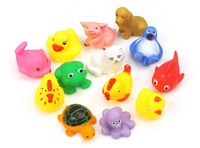 13Pcs/Set Baby Bath Toys Mixed Style Rubber Cute Animal Children Water Toys Sounding Paddle Toys